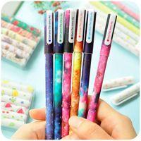 Wholesale 6 set Color Gel pen Starry pattern Cute kitty hero Roller ball pens Stationery Caneta escolar Office school supplies