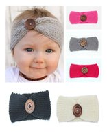 autumn hair color - 2017 Baby Girls Crochet Knitted Headbands Infant Toddler Colors Wool Buttons Hairbands Autumn Winter Head Wrap Children Hair Accessories