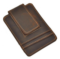 Wholesale Top Quality Credit Card ID Holder Simple Design Magnet Men Wallet Money Clip Crazy Horse Leather Hot Sales Design European And American