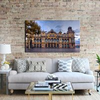 beautiful scenery paintings - 1 Picture Combination Painted Oil Painting Buildings At The Villa And The Trees Beautiful scenery On Canvas For Home Decor