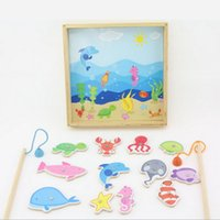 Wholesale kids fishing toy wooden no harm with magnetic early learning sea animal good gift for baby