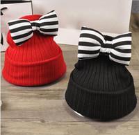 Wholesale baby hat cute butterfly knot kids woolen hat kids warm crochet hat kawaii baby winter hat girls