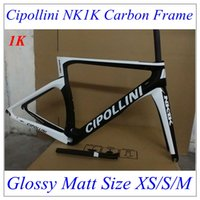 Wholesale 2016 cipollini NK1K T1100 black White Carbon Road Bike Frame K Weave BICICLETTA frame size XS S M with seatpost fork headset