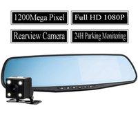Wholesale Car Rearview Mirror Camera Video Recorder Car DVR Dual lens Full HD P Camcorder Dash Cam Night Vision H Parking Monitoring