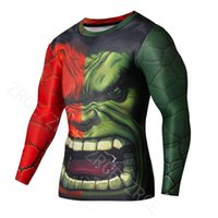Wholesale Incredible Hulk Long Sleeve Shirt Man Absorbent Suit Gym Body Builging Fitness Man Tight Cos play tights
