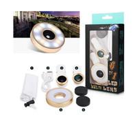 Wholesale Flash LED Light In Clip Fish Eye Lens Macro Wide Angle Selfie Lens CellPhone Lens For iPhone SE Samsung