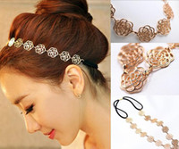 Wholesale Cheap Hair Accessories Womens Metal Chain Jewelry Hollow Rose Flower Elastic Hair Band Headbands Jewelry Drop Shipping Headwear