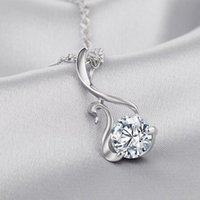 Wholesale NEW Fashion Silver Plated Cygnet Necklace Pendant for Women Rhinestone Pendant Necklace without Chain