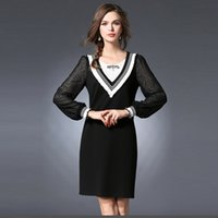 Wholesale 2016 Autumn casual women clothing bow stripes stitching long sleeved clothing cheap chinese american appare selling