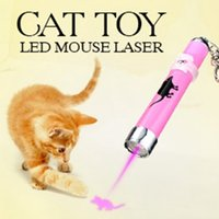 Wholesale 2016 Funny Pet Cat Toys LED Laser Pointer light Pen With Bright Animation Mouse Random Color