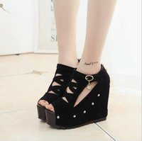 Wholesale 2016 Black Women Real Elsa Shoes Korean Version of Women s Within The Higher Slope with Thin Hollow Sexy q Race After Step eo e