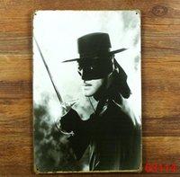 Wholesale Zorro Tin Sign Bar pub home Wall Decor Retro Metal Art Poster