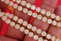 Cheap 21 Carats White Diamonds Flower Cluster Style Necklace Chain 14k Yellow Gold