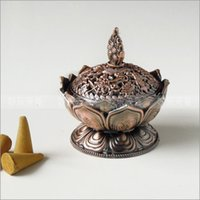 Wholesale burner gas Bronze classical style Incense burner censer Imitation copper no fade unbreakable Lotus shape classical metal crafts