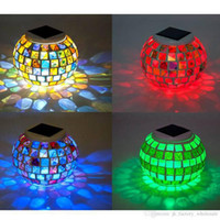 Wholesale 2016 Fashion Hot Sales Solar Power Mosaic Glass Ball Garden Stake Color Changing Outdoor Lawn LED Light
