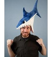 Wholesale 3 Colors Newest Novelty Shark Costume Hat SHARK EATING HEAD FUN NOVELTY FANCY DRESS HAT Cosplay Costume Hat Hallowmas party caps