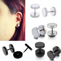 Wholesale 6 mm Black Silver Stainless Steel Fake Ear Plugs Gauge Women Men Illusion Body Piercing BJ7331