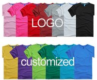 advertising prints - Custom LOGO T shirt Embroidery Round O Neck Lycra Tops TEE good quality printed advertising t shirts work shirts Plus size