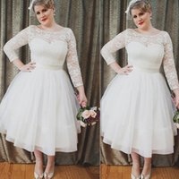 A-Line Reference Images 2016 Spring Summer Plus Size Vintage Wedding Dresses 2016 White Sheer Scoop Long Sleeves Bridal Gowns Tea Length Tulle Sash Big Size Brides Dress For Fat