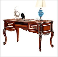 Wholesale French Baroque Style Luxury Executive Office desk European Classic Wood carving Writing table Retro Home Office Furniture pfy900