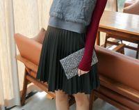 Wholesale Large Size Faux Leatherette Short Skirt for Women Winter High Waist Flare Skirt
