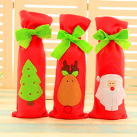 best fiber bars - DHL freeshipping Tie Wine Bottle Cover Bags For Christmas Decorations Kids Gift Merry Christmas Bar Tools Best Gift for Xmas Bar new