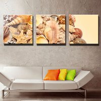 Wholesale Shell Oil Paintings Modern - LK3172 3 Panel Starfish Spiral Shell Oil Painting Prints On Canvas The Living Things Pictures Wall Art For Home Modern Decoration Print Deco
