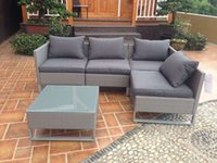 aluminium patio furniture - Best selling Rattan Wicker Patio Sofa Cushion Seat Set Furniture Lawn Outdoor Rattan Aluminium Garden Furniture Sofa Set Outdoor Wicker sofa