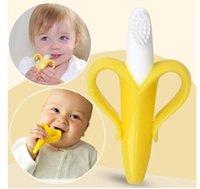 Wholesale Baby Teethers Baby Teething Rings Bite Silicone Banana Toothbrush Without BPA Banana Toothbrush Teething Ring hot sale