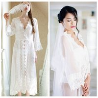 babydoll bridesmaid dress - 2016 Spring Lace White Royal Bridal Undergarments Bathrobe Robes For Bridesmaid Womens Maternity Kimono Robe Long Casual Dressing Gowns