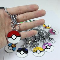 Wholesale 12 Styles Cartoon Pocket Monster Poke Ball Metal Keychain Action Figures Anime Pokémon Keyring Pendant Promotion Lover Children gift