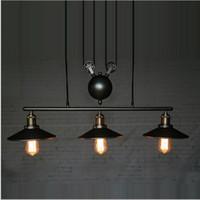 antique kitchen designs - New design RH Lightings Retro Iron Pulley Pendant Lights Loft American Vintage Industrial Pulley Rope Antique Edison Pendant Lamps