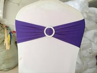 Wholesale 100 DHL finished dark purple edge spandex lycra chair bands elastic chair sash with buckle for wedding