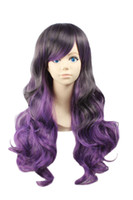 Cheap Women's Heat Friendly Lovers Lolita Curly Gradient Color Highlights Halloween Cosplay Costume Party Sexy Wigs (Wavy Long Purple)
