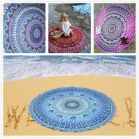 Wholesale Chiffon Round Beach Towel cm Bath Towel Tassel Decor Paisley Printed Bath Towel Summer Style Shawl Tippet Patterns Sarong