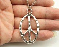 big peace sign necklace - 24pcs fashion antique silver big peace sign pendant necklace cm chain long necklace