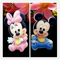 art baby card - Baby Minnie and Mickey Mouse Planar Resin Cabochons Flat Back Hair Bow Center Card Making Craft Embellishments