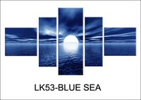 arts printed labels - LK53 Set Modern Wall Painting BLUE SEA label Canvas Art Canvas Wall Picture Decoration Home Combined Modern Canvas Oil Art Prints
