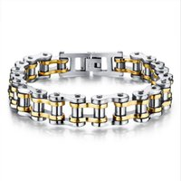 bicycle jewellery - Biker L Stainless Steel Mens Bracelet Fashion Sports Jewelry Bike Bicycle Chain Link Bracelet Casual Jewellery GS781