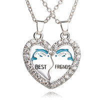 best friend necklaces dolphins - Two part quot Best Friends quot Friendship Silver Tone Broken Heart dolphin Pendant Chain Necklace Jewelry BFF Partner crystal Necklaces Gift