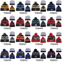 Wholesale New Arrival Football Beanies All Teams Knitted Hats Caps Sports Team Beanies with Pompom Fashion Winter Hats Seahawks Broncos Cowboys Hats