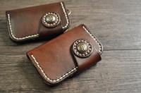 antique card holder - Hot Sale New Special key chain Vintage retro handmade genuine cowhide leather keyring case holder Card holder package