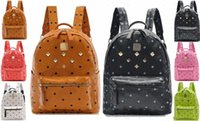 bags college - Women rivet Backpack Men Fashion Leather Bag Women Designer Bags men leather Women Fashion Bags College Student Bag Shoulder Bag Backp