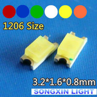 amber surface - 1206 SMD LED LED valuesx100pcs Red Green Blue White Yellow Amber Orange LED Diode Light R G B W Y A Size