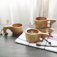 Wholesale Japanese Style Wood Handmade Real Garrafa Termica Squeeze Mug Flavor Kuksa Portable Coffee Milk Cup for Zakka Size14 cm