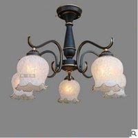 art glass light shades - Modern European Wrought Iron Chandelier Iron Lights Body with Glass Light Shade European American Living Room Bedroom Restaurant Lamp