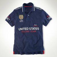 Wholesale USA Navy RL Racing Polo T Shirts For Mens Cotton Embroidery Big Pony Great Britain ITALIA ESPANA DEUTSCHLAND Casual Mens Short Sleeve Shirts