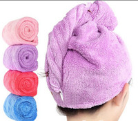 Wholesale colorful fashion soft absorbent new Coral velvet dry hair cap shower cap quick drying towel from China