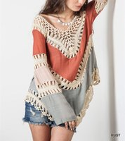Wholesale 2016 Summer New Bohemia Womens V Neck Capes And Ponchoes Backless Hollow Sexy Bikini Pullover