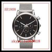 Cheap TOP QUALITY BEST PRICE   Drop Ship Classic Chronograph Black Dial Steel Mens Watch AR1811 AR1808